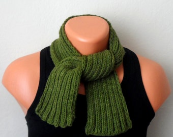 green men knit scarf, green winter scarf, chunky men scarf, men knit scarf gift for her