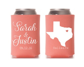 Texas State Pride Can Cooler, State Pride Can, State Pride Coolie, Texas Wedding, State Pride Wedding, Custom Wedding Can Cooler, Favor