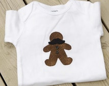 Christmas Gingerbread Man with Moustache  Baby Onesie