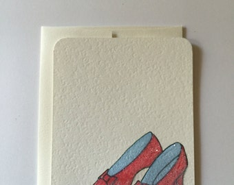 wizard of oz inspired, glittered  flat note cards, Dorothy's red slippers