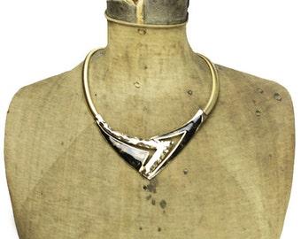 Black Enamel Necklace, Black Enamel Collar Necklace, Black and Gold Necklace, Gold Chain Necklace, Black Gold Bib Necklace
