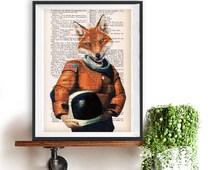 Art print Fox Astronaut, original fox illustration, space drawing, nasa print, flying to the moon, funny fox print