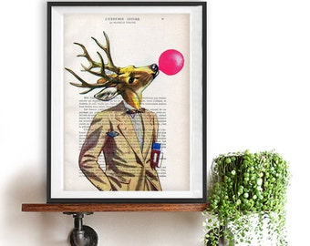 Deer Illustration Print Nursery Kid Room Art Animal Human Body Painting poster dictionary recycled book print Christmas Gift