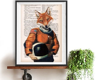 Art print Fox Astronaut, original fox illustration, space drawing, nasa print, flying to the moon, funny fox print