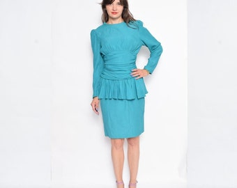 Vintage 80's Green Peplum Dress / Long Sleeve Midi Dress