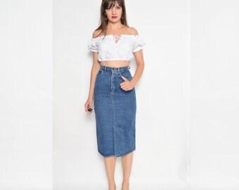 Vintage 80's Denim Midi Pencil Skirt / High Waisted Blue Denim Skirt - Size Extra Small