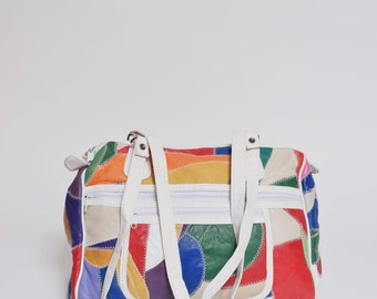 Vintage Rainbow Colors Patchwork Real Leather Shoulder Bag