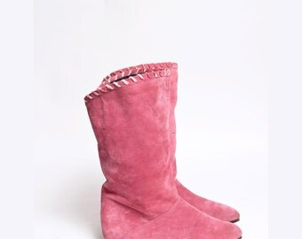 Vintage Pink Real Suede Boots 1980's with Fury Lining
