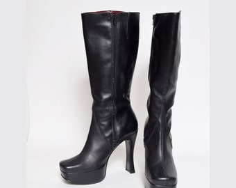 Vintage 90's Platform Black Faux Leather Boots with Side Zipper