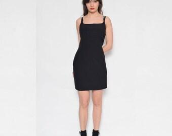 Vintage 90's Black Mini Dress / Black Mini Slip Dress / Sleeveless Black Mini Dress
