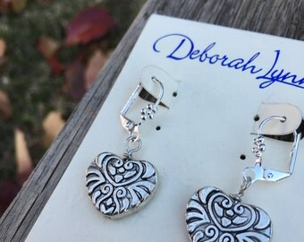 Silver Swirl Heart Earrings, Brighton style Vintage Hearts, Dangle Earrings, Simple and Chic