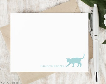 Personalized Cat Notecard Set / Set of Flat Personalized Stationery Cards / Stationary Note Card Set / Monogram Thank You Notes // CAT