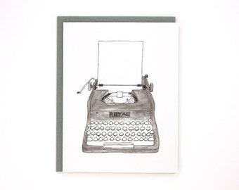 Typewriter black & white - Royal typewriter - blank greeting card / BLK-TYPEWRITER