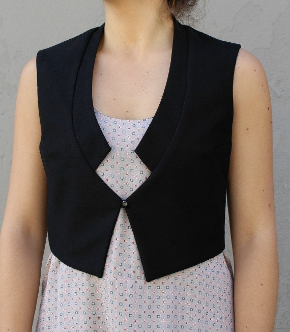 THORGAL - sleeveless vest, chic blazer, jacket, cover-up for women - black