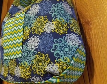 Reversible Hobo Bag - Cross Body Purse - Blue Floral and Teal Chevron