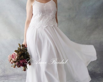 Short and simple Ivory White Lace Wedding Dress Perfect for Beach or Woodland Wedding - AM1981980