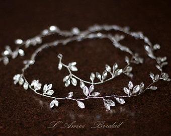 Long Crystal hair vine ,beaded hair vine ,1m bridal hair vine, bridal headband, crystal headband ,beaded headband ,bridal hair wreath