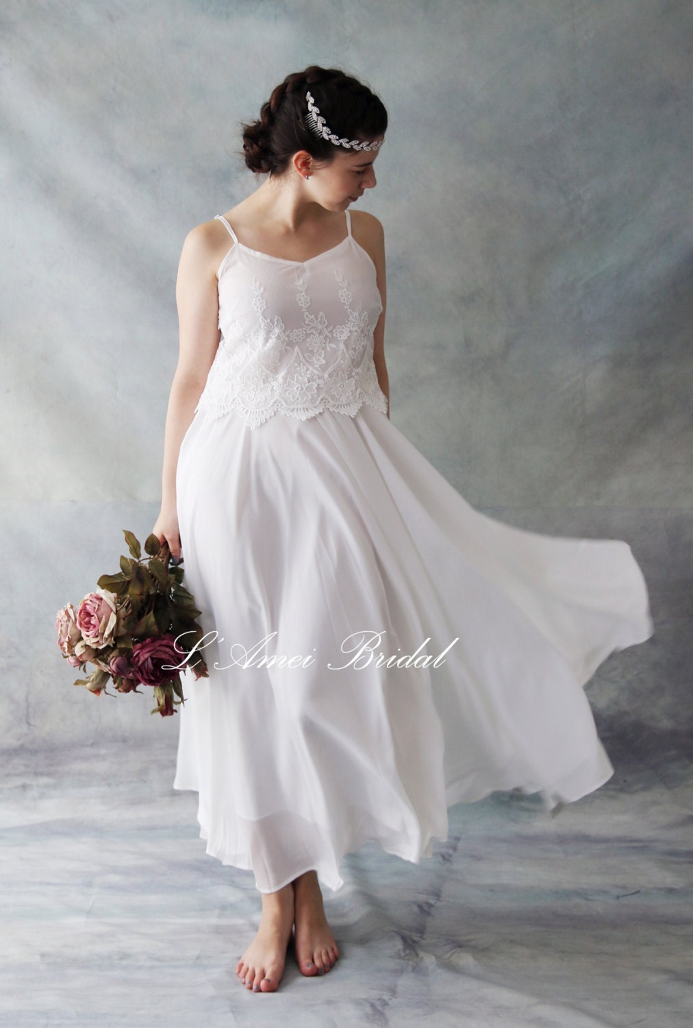 Short And Simple Ivory White Lace Wedding Dress Perfect For