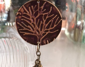 Tree of Life embossed Brass necklace