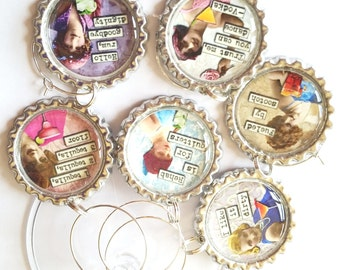 Funny Wine Glass Charms, Sassy Divas Drink Charms, Bachelorette Party, Girl's Night Out, Humorous Divas Drink Tags, BFFs Charms, Set of 6