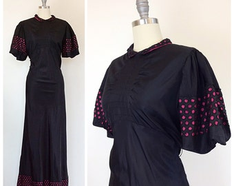 RESERVED on LAYAWAY for ERICA /// 40s Magenta & Black Lace Dress / 1940s Vintage Maxi Gown Dress / Large / Size 10