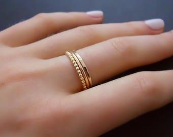 14k Gold Filled Ring Set, Set Of 3 Rings, Hammered Ring, Round Ring, Beaded Ring, Gold Stacking Ring Set, Delicate Gold  Filled Rings