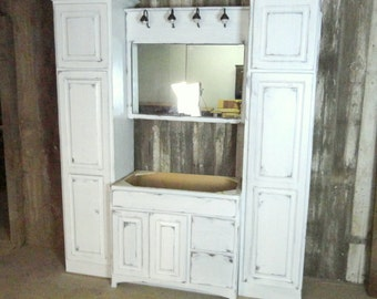 Rustic white washed bathroom cabinet set made from barn wood, made to order, free shipping