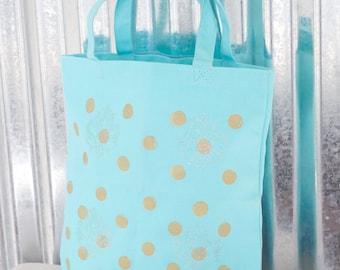 SALE* 100% Cotton Tote Light Blue w/ Gold Polka Dot/Canvas Bag/ Reusable Bag/ Tote/ Cotton Bag/ Market Bag/shopping bag