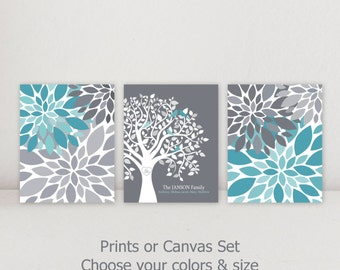 Family Tree Personalized Wall Decor Art Set Flower Burst Home Decor  Turquoise Teal Gray White CUSTOM
