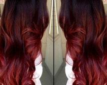 Clip in virgin Human Hair Extensions Dark Bown (#2) - Auburn Red Ombre