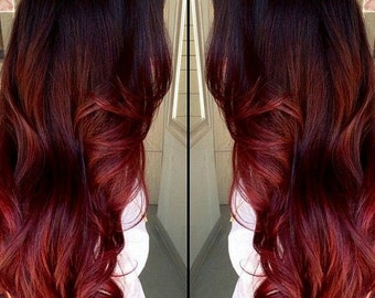 Clip in virgin Human Hair Extensions Dark Bown (#2) - Auburn Red Ombre