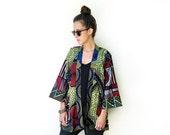African Kimono, Unique Kimono Jacket, Ankara Fashion, African Clothing, Light Jacket, One of a Kind