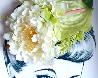 Garden Party Oversized Hair Flower Vintage Pinup