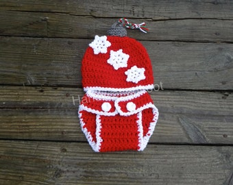 Newborn Baby Crochet  Christmas Ornament Snowflake Hat Photo Prop Outfit Set Diaper Cover Shower Gift 0-3,3-6 Months First Christmas