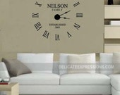 Wall Clock Kit, Custom Family Name with Year Established, Vinyl Decal and Mechanism Kit