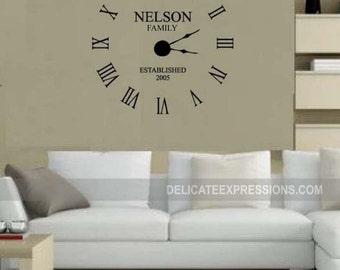 Clock Wall Decal Etsy
