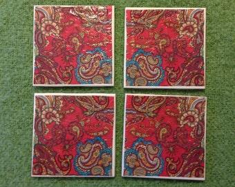 Set of 4 Red & Blue Paisley Fourish Tile Coasters