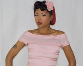 AUDREY Rockabilly Pinup Boatneck Top Satin and Mesh Pinup Girl Clothing Retro Clothing Size Small