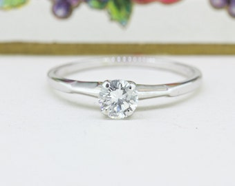 Vintage Mid Century Engagement Ring | Diamond Solitaire Ring | 1950s Wedding Ring | 14k White Gold Ring | Simple Engagement Ring | Size 9.25