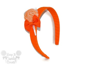 Orange Lollipop Headband , Orange Headband, Candy Headband, Orange Hair Accessories, Orange Wedding Ideas, Flower Girl Hair Ideas