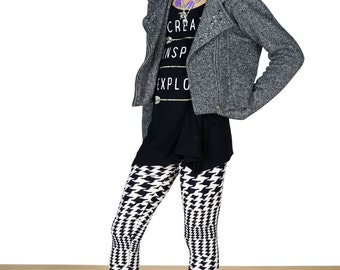 Girls/Kids Geo Graffiti Printed Leggings for Riot Grrrls, Punk and Goth Kids