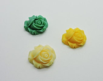 Rose Cabochon, Resin Rose Flower, Vintage Inspired, Resin Rose Beads, Cabochon Cabs, Flat Back Cabochons, Mixed Rose Cabs, Matte Finish Rose