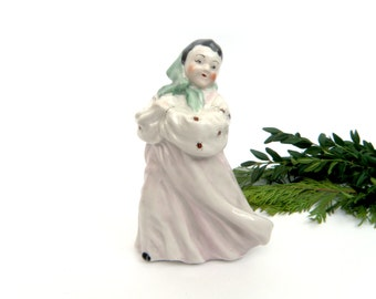 Porcelain Figurine Dancing Girl Ceramic Pastoral Fireplace Mantle Decor Ukrainian Girl Dancer Traditional Clothes Soviet Gorodnitsa Factory