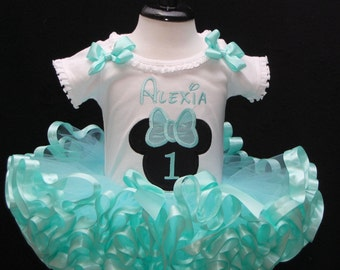 Minnie Mouse Birthday Tutu Outfi,  First Birthday Tutu Outfit  2 pieces Minnie Mouse Aqua Blue ribbon trimmed tutu