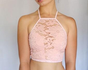 Peachy Pink Lace Bralette, High Neck Lace Top. Cropped Bra Top. Tank top. Unique Lingerie. Soft Color
