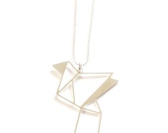 LONG ORIGAMI BIRD Necklace, Silver bird, big origami necklace, origami bird, geometric bird necklace, bird pendant, christmas gift N052