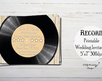 Record theme wedding invitation, Music wedding invite, Retro wedding invitation, Music vinyl record invitation, pick up invitation