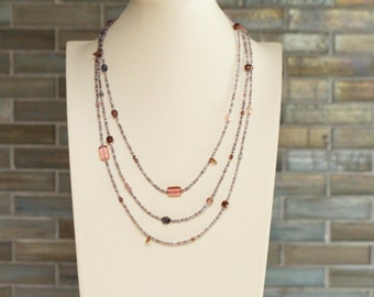 extra long bead necklace / birthday gift necklace / double strand / triple strand / glass iolite silver