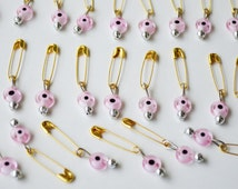 20 Pcs Weeding Favor Supplies -Safety Pins With Pink Evil Eye Beads Gift Tag Party Pink Beads With Pin  Set Of 20, Evil Eye Beads Hook