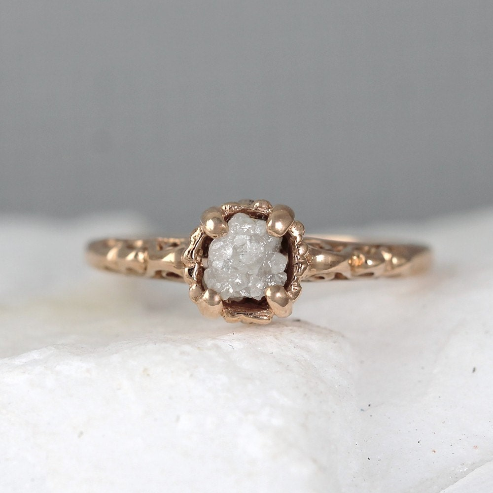 Rose Gold Antique Style Raw Diamond Engagement Ring 14K Pink